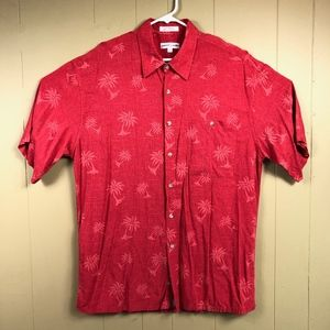 Pierre Cardin Men's Button Up Palm Trees Shirt